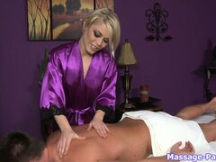 Such a nice masseuse, hot blonde gives a massage and a handjob