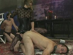 Humiliating sex for men with dominatrix and tortures in bondage