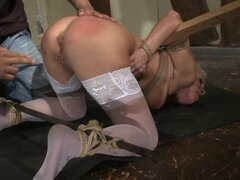 Bounded Blonde Gets a Hook in Her Asshole in BDSM Vid