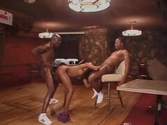 Skinny Ebony Withstands The Hardcore Double BBC Penetration