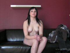 Dark-haired babe with cute face fuck at casting