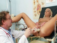 Blonde Klara getting pussy gyno examined by old doctor
