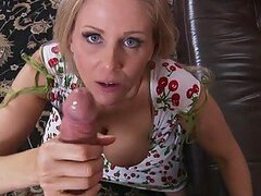 Busty Blonde Mom Julia Ann Polishing a Big Cock