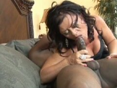 Busty brunette hot momma sizzles hard for massive black boner