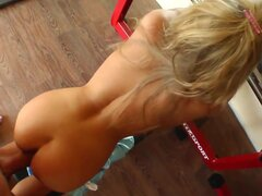 Young long haired blonde babe Kasey with natural boobs and pretty face gets tight pink pussy and firm ass boned balls deep by lover in the gym in point of view.