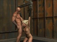 blond slave tied and fucked