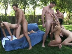 Pool party facial orgy with Kendall Karson and other busty sluts.