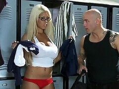 Hot Sex in the Locker Room with Busty Blonde Coach