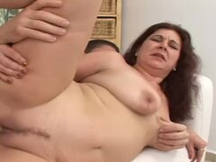 Elizabeth the busty brown-haired bitch gets creampied