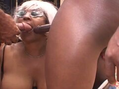 Horny black fatty mature granny slut enjoys two hard cocks