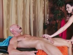 Nasty masseur shoving his hard cock deep in a wet cunt