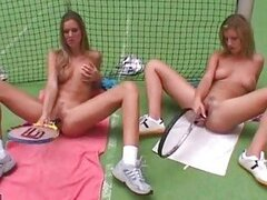 Sporty babe Christina Blond masturbating together with an erotic nymph