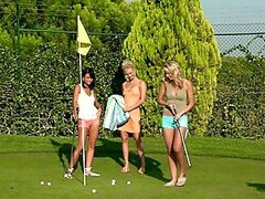 Three lesbian golf players fucking on the golf course