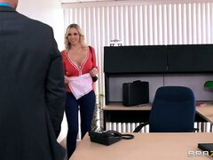 Julia Ann makes out with her boss and gets on her knees to give a sloppy blowjob to this horny dude