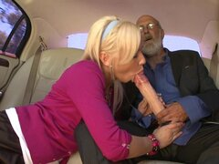 Sexy Kacey Jordan giving a hot blowjob to a passenger