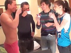 Slutty Teen Getting Her Tight Holes Banged in A Gangbang