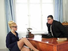 Stunning blonde office girl has rough sex...