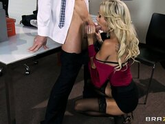 Hot blonde babe doesn't even make it out of the office before she's half naked and licked