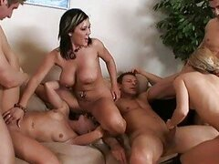 Busty girls and hot guys in wild foursome orgy