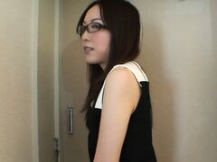 Skinny Asian girl in glasses does some posing, then takes a shower