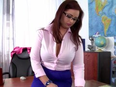 Sensual teacher is poking her lovely pussy
