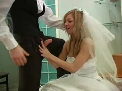 Teen bride in wedding day threesome