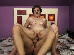 This furry old pussy feels so good on his massive young shaft