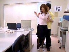 Chihiro Akino the busty office girl gets fucked hard