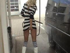 Car wash in sexy mini dress without panties