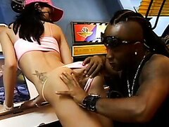 Whorish brunette bitch get fingered hard by a black stallion