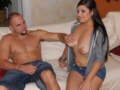 A curvy Latina teen has here nice, natural titties groped and her gant stuffed
