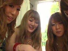 Four sexy Japanese girls and a guy have some fun together