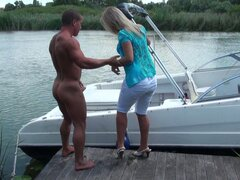 Busty tanned bbw blonde whore Sunny Diamond gets her pussy eaten on the boat.