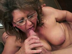 Chubby Mature Brunette in Glasses Having Hot Hardcore Sex