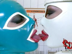 Latex babes go wild in clinic!