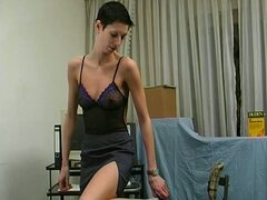 Skinny brunette amateur chick toys pussy solo