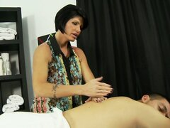 Horny, brunette mom teaches her cute, young daughter how to suck cock