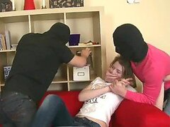Horny Blonde Teen Banged by Two Masked Burglars in Threesome