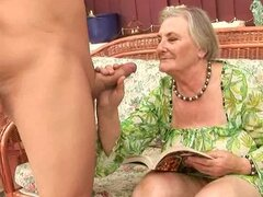 Slutty granny Margot blows...