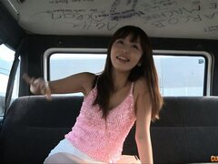 Asian hitchhiker gets horny and flashes her perky little tits