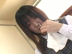 A uniform japanese babe forced to do softcore sex
