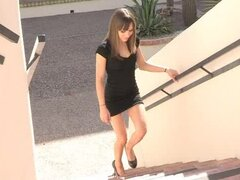 Risi masturbates with her high heels to kill some time