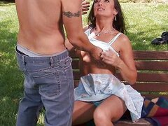 Fucking brunette on park bench