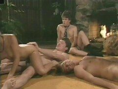Sexy Lesbian Babes Get Their Hairy Pussies Fucked In a Hot Retro Orgy