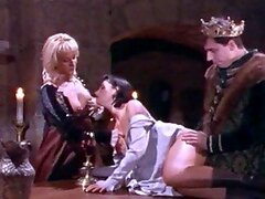 Blonde and Brunette Girls Having Sex with the King in Medieval Time