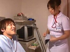 Hot naughty nurse Reiko Nakamori sucking out thick cum