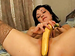 Banana suits perfectly for drilling Nelli's twat
