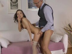 Young beauty having old cock in