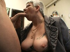 Murielle a chubby French mature in a threesome
