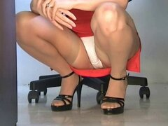 Squatting stockings upskirt...